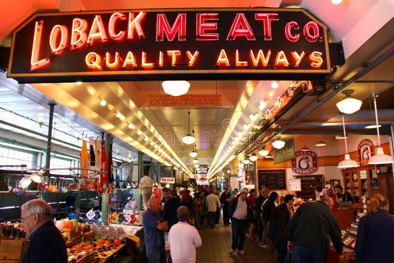 Seattle - mercado público del lugar colorido de Pike fotos de archivo