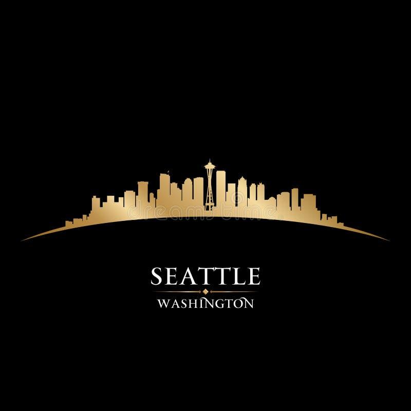 Seattle miasta linii horyzontu sylwetki czerni Waszyngtoński tło ilustracji