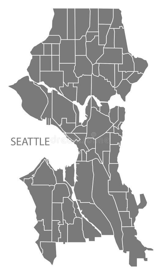 Seattle miasta Waszyngtońska mapa z sąsiedztwami siwieje ilustrację ilustracji