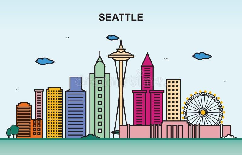 Seattle miasta wycieczki turysycznej pejzażu miejskiego linia horyzontu Kolorowa ilustracja ilustracji