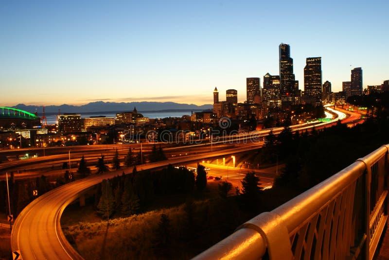 Seattle nightview royalty-vrije stock fotografie