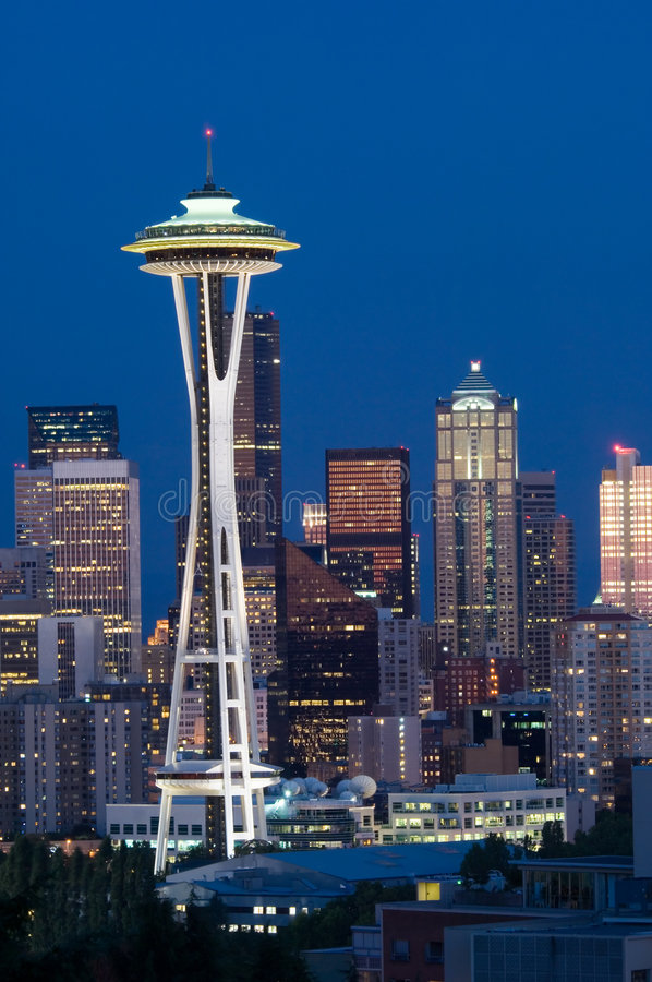 Seattle no alvorecer foto de stock royalty free