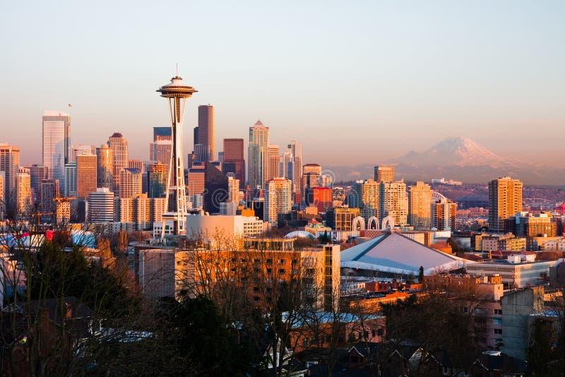 Seattle no por do sol foto de stock royalty free