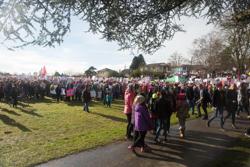 Seattle o março de milhão mulheres fotografia de stock