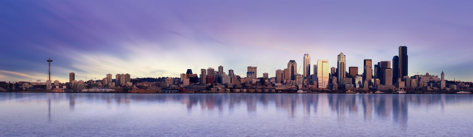 Seattle Panorama. Panoramic Image of the city of Seattle at sunset