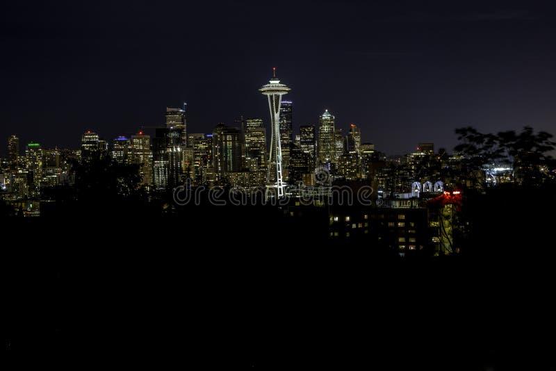 Seattle par nuit photo stock