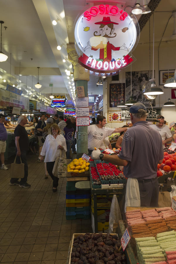 Seattle Pike Place Market fruit stand royalty free stock photography