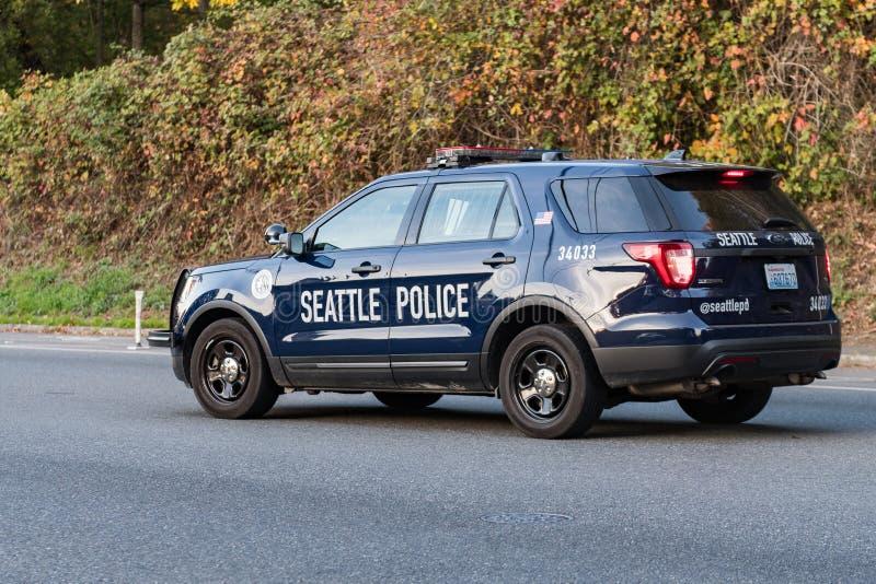 Seattle policji radiowóz w Delridge Mieszkaniowym sąsiedztwie obrazy royalty free
