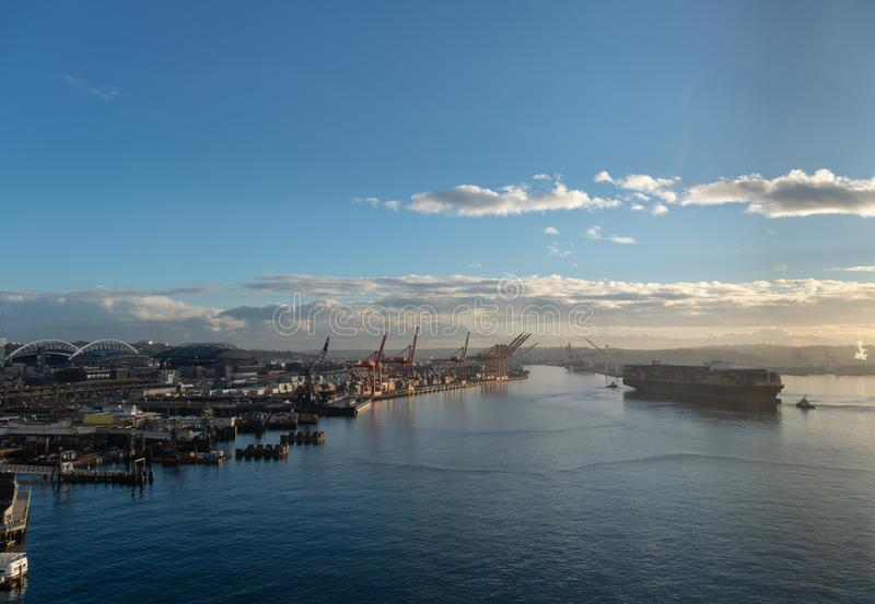 Seattle port with stadiums stock images