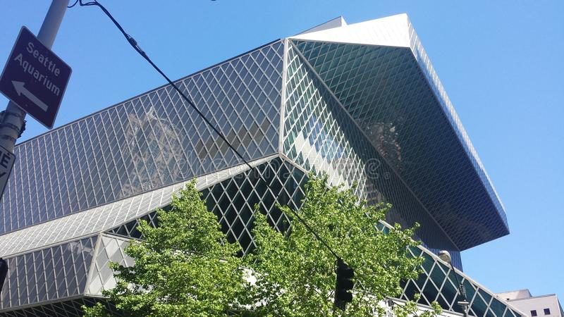 Seattle Public Library. From a street view stock images