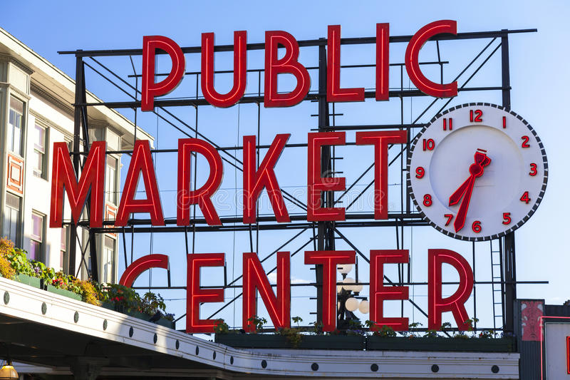 Seattle Public Market Center Sign. Pike Place Market, Seattle WA, USA stock images