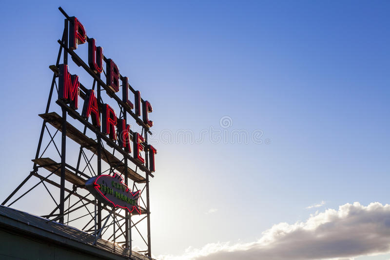 Seattle Public Market Sign. Pike Place Market, Seattle WA, USA royalty free stock photo