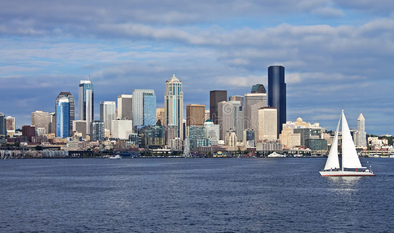 Seattle with sailboat. Panorama of downtown skyline with sailboat, Seattle, Washington royalty free stock photography