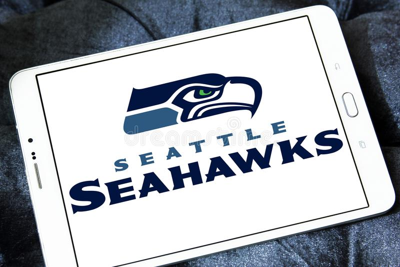 Seattle Seahawks american football team logo. Logo of Seattle Seahawks american football team on samsung tablet. The Seattle Seahawks are a professional American royalty free stock photos