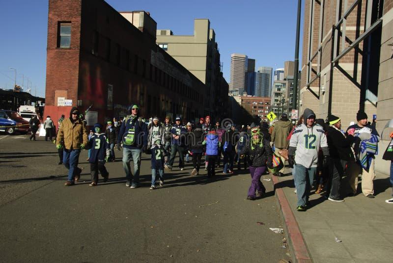 Seattle Seahawks fan przy stadium obrazy stock