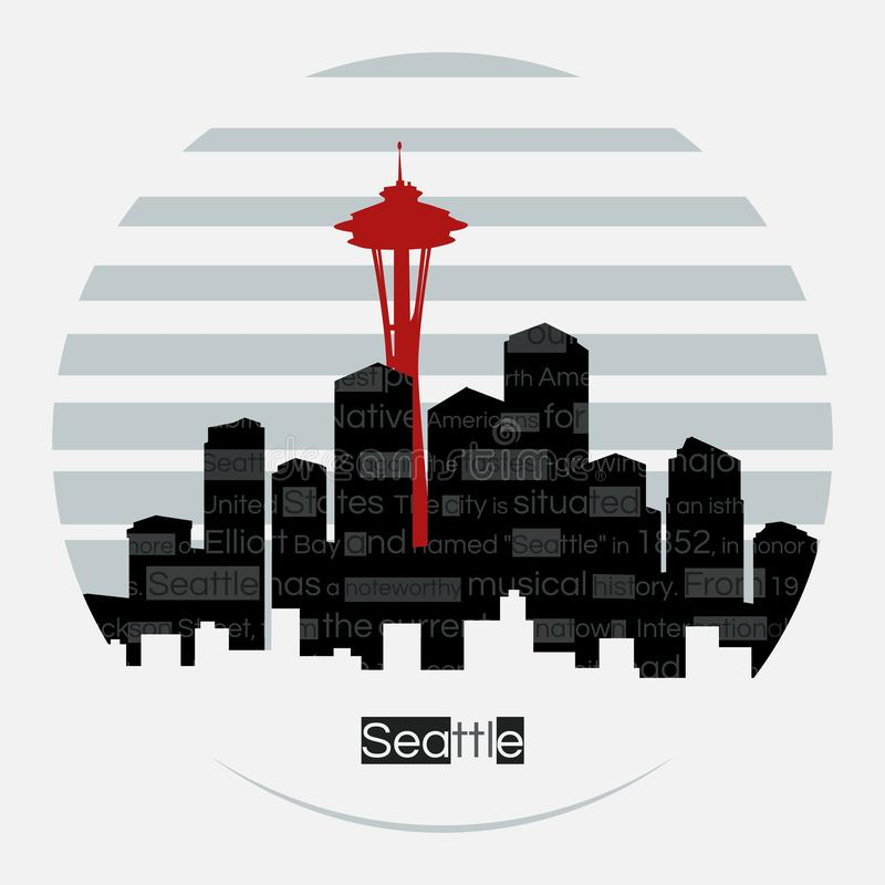 Seattle silhouette vector round label vector illustration