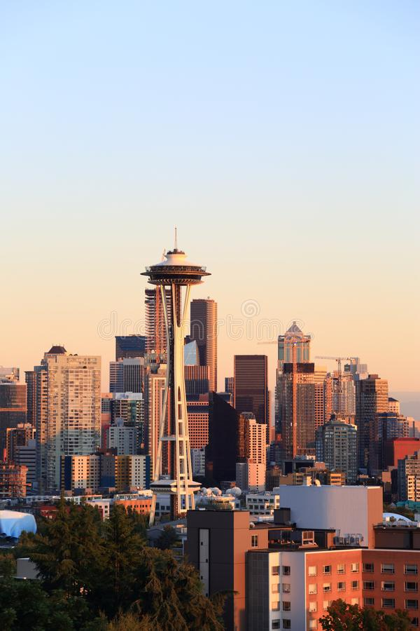 Seattle sktline and space needle royalty free stock photography