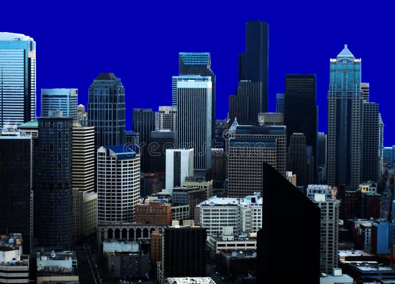 Seattle-Skyline-Blau-Rückseite stockbilder