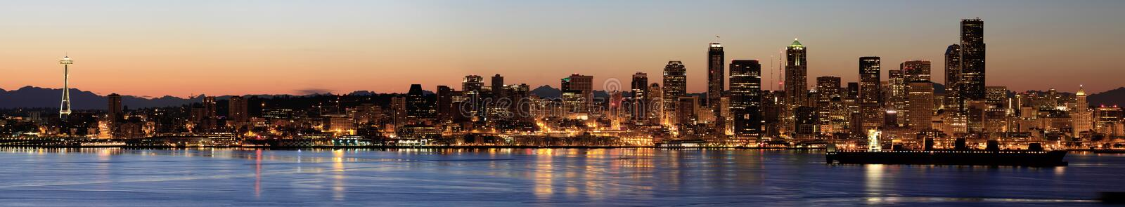 Seattle Skyline at Dawn along Puget Sound. Seattle Downtown Skyline at Dawn along Puget Sound Panorama stock image