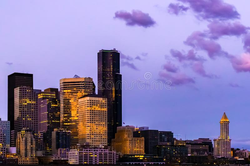 Seattle skyline at dusk, after sunset, Washington state, USA. Seattle skyline at dusk, after sunset, from Elliott Bay, with copy space, Washington state, USA stock photo