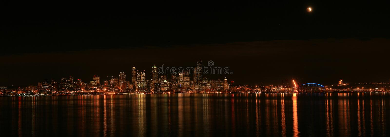Seattle skyline with eclipse stock image