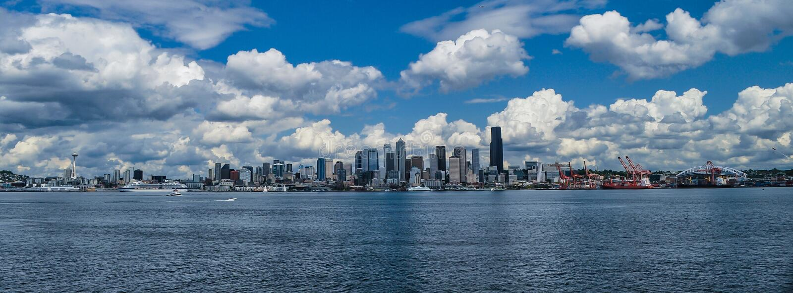Seattle Skyline. From Elliot Bay including the Space Needle royalty free stock image
