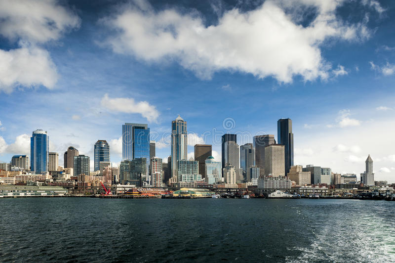 Seattle Skyline from a Ferryboat royalty free stock image