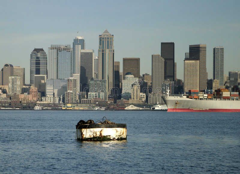 Download Seattle skyline and harbor stock photo. Image of waterfront - 517850
