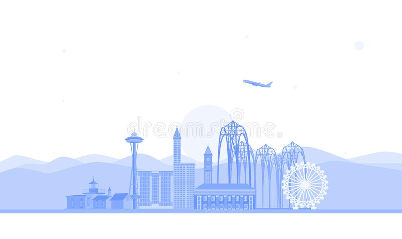 Seattle skyline illustration. Flat vector illustration. Business travel and tourism concept with modern buildings. Image for banne vector illustration