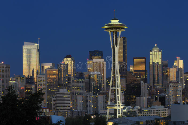 Download Seattle skyline at night editorial image. Image of city - 15153765