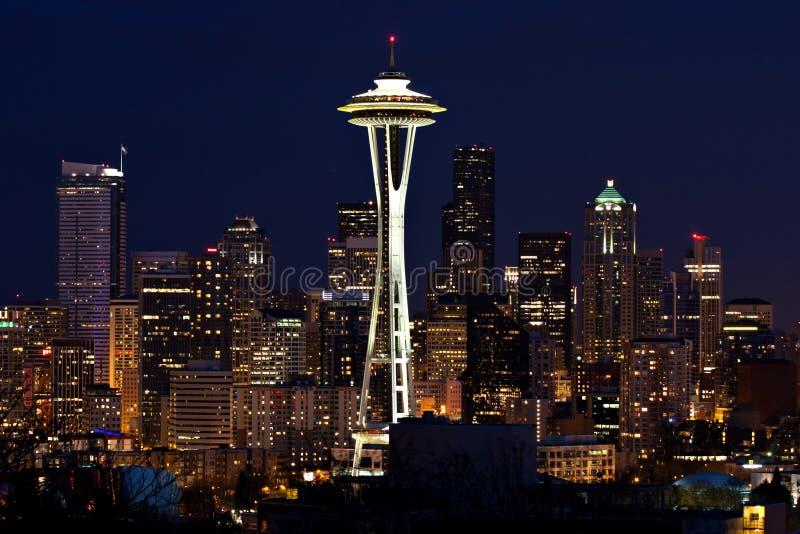 Seattle Skyline at night stock photography