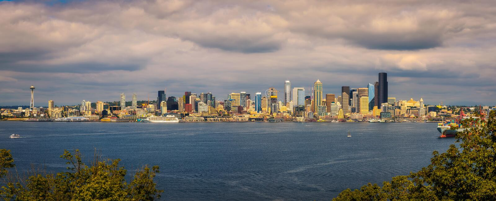 Seattle skyline panorama royalty free stock image