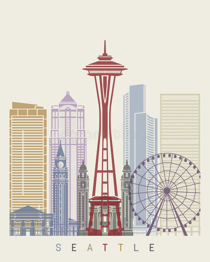 Seattle skyline poster stock illustration