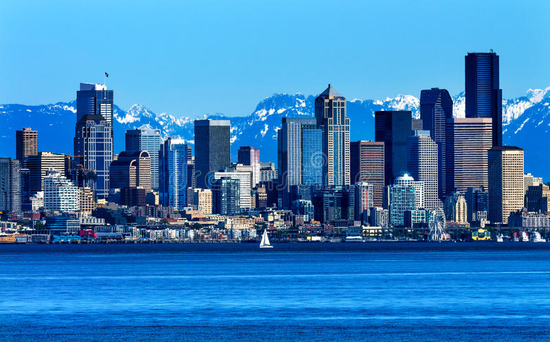Seattle Skyline Puget Sound Cascade Mountains Washington State. Seattle Skyline Sailboat Puget Sound Cascade Mountains Washington State Pacific Northwest stock image