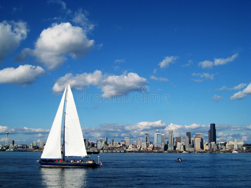 Seattle Skyline with Sailboat royalty free stock photo
