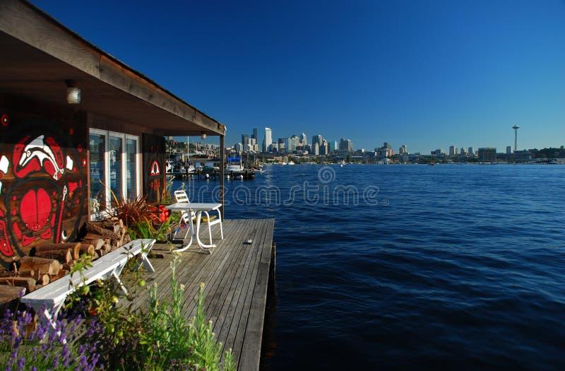 Seattle, Washington. City skyline from Union Lake stock photography