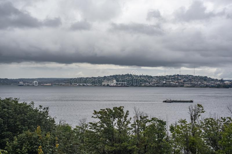 Seattle skyline viewing Queen Anne hill royalty free stock photography