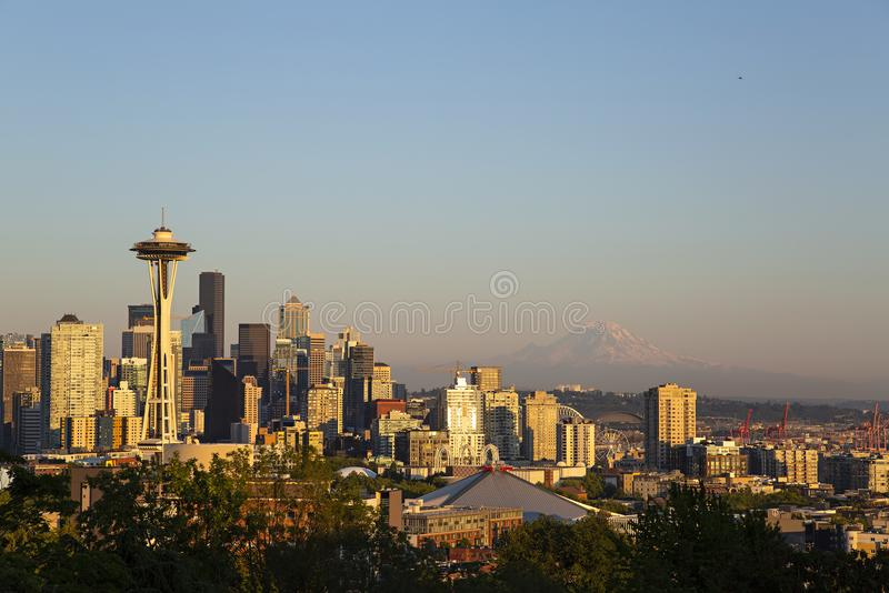 Seattle Skyline. Seattle, Washington - July 25, 2018: View of Seattle, Washington skyline from Kerry Park. Seattle has been the fastest growing major city in the stock photography