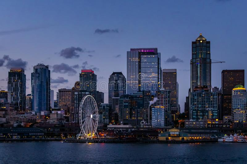 Seattle skyline and waterfront by night royalty free stock images