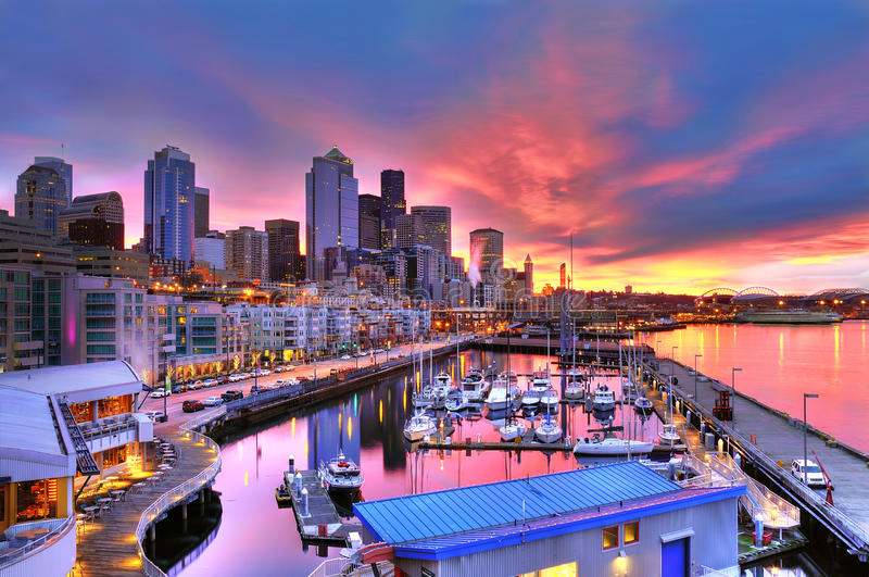 Download Seattle Skyline And Waterfront In Sunrise Stock Photo - Image: 12895468