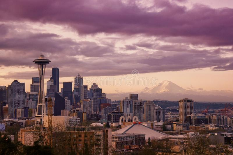 Seattle-Sonnenaufgang lizenzfreies stockbild
