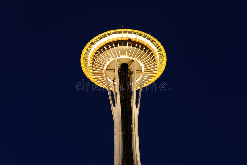 Seattle Space Needle at Dawn. The underside of the Seattle Space Needle lit up at dawn royalty free stock photo