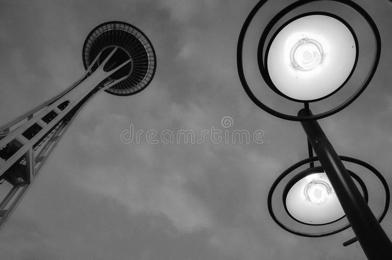 Seattle Space Needle at night B/W stock image
