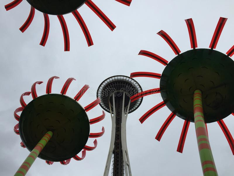 Seattle Space Needle, Sonic Bloom royalty free stock photography
