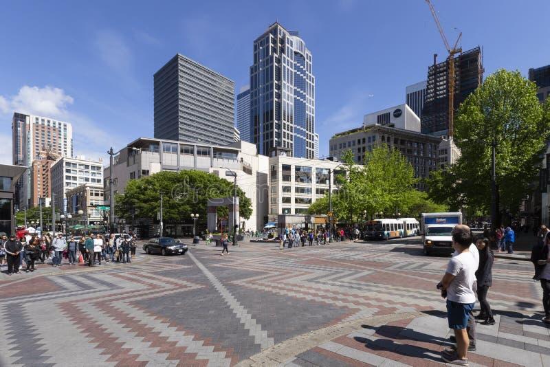 Seattle-Stadtzentrum Westlake-Park stockbild
