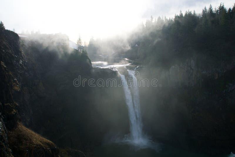 SEATTLE, stan washington STANY ZJEDNOCZONE, Jan, - 23rd, 2017: drzewo z mgłą, sceniczny widok Snoqualmie spadek gdy dużo fotografia stock