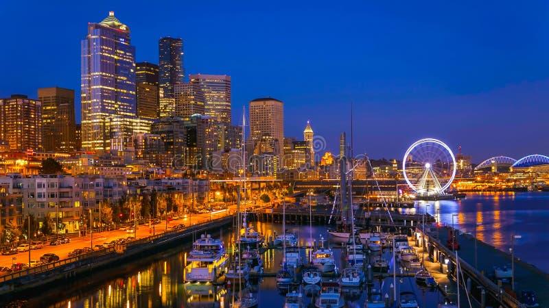 Seattle strand efter solnedgång royaltyfri bild