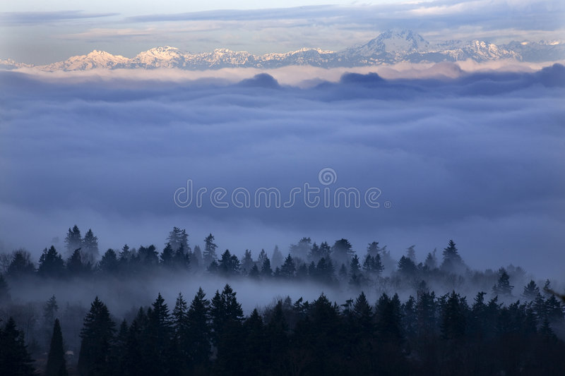Seattle Under the Fog stock images