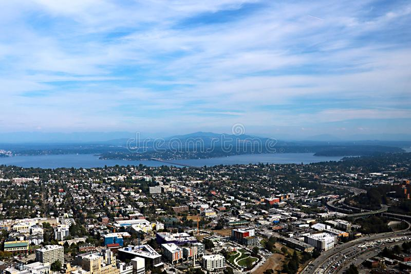 Seattle, USA, August 30, 2018:Aerial view of Seattle city. Seattle, USA, August 30 2018Aerial view of Seattle city stock photo