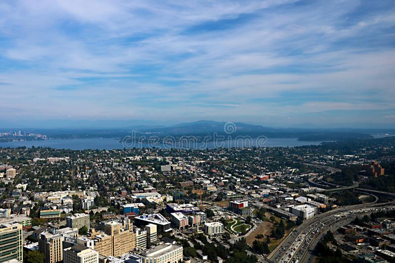 Seattle, USA, August 30, 2018:Aerial view of Seattle city. Seattle, USA, August 30 2018Aerial view of Seattle city stock image